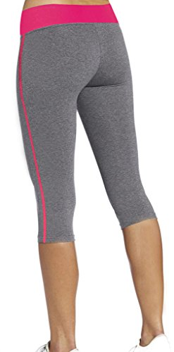 4How Women's Capris Tights Pants Fitness Leggings Grey & Rose Red X-Large Size