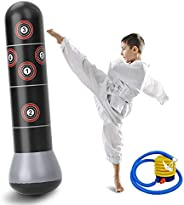 60inch Boxing Punch Bag, Inflatable Punching Bag, Kid's Kickboxing Bag, Inflatable Free- Standing Fitness Targ