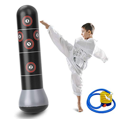 60inch Boxing Punch Bag, Inflatable Punching Bag, Kid's Kickboxing Bag, Inflatable Free- Standing Fitness Target Stand Tower Bag, Free Standing Tumbler Column Sandbag for Relieving Pressure Body Bu