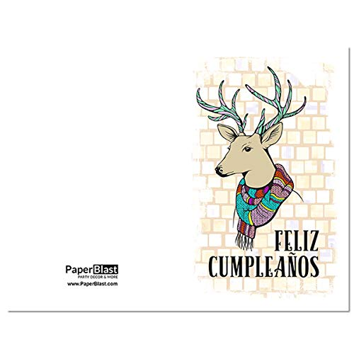 Amazon.com: Deer Hipster Feliz Cumpleanos Birthday Card in ...