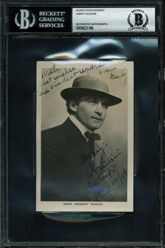 Harry Houdini Cardiff, May 26/14 Autographed Signed 3.5X5.5 Postcard Photo Bas Slabbed from Sports Collectibles Online