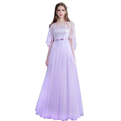 Sun Goddess Président Mauve Manches Longues Robe De Soirée La Mariée Robe De Partie Banquet De Mariée Sur Mesure,6 6