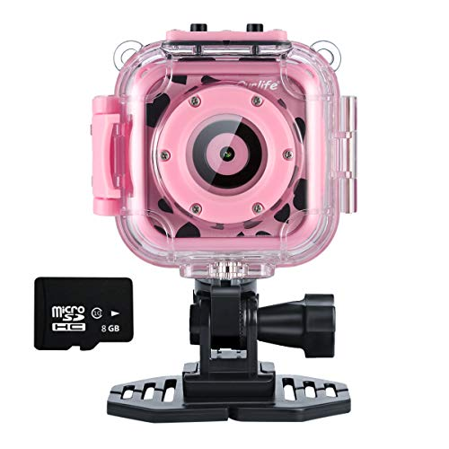 Ourlife Waterproof Video Cameras for Kids HD 1080P Kids Digital Cameras Camcorder with 8GB Memory Card (Kids Digital Camera Pink)