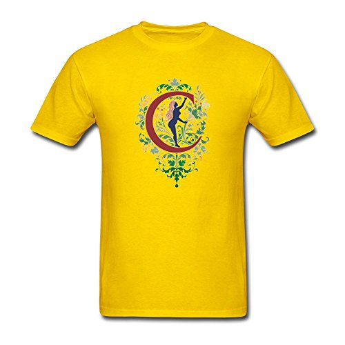 KkOmade Men's Letter C Logo Short Sleeve T-Shirt XX-Large Yellow ()