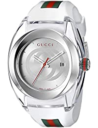 f72eadbee38 SYNC XXL White Rubber Strap 46mm Unisex Watch YA137102 · Gucci