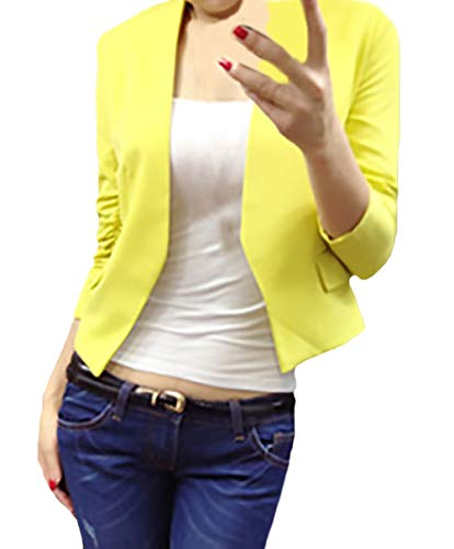 Chaqueta Negocios Elegantes De Camisa Traje Oficina Slim Manga Larga Mujer Mujeres Amarillo Unicolor Corto Abrigos Blazer Otoño Primavera Fit Chaquetas Battercake Casual Casuales Fashion dp4wTqxCd
