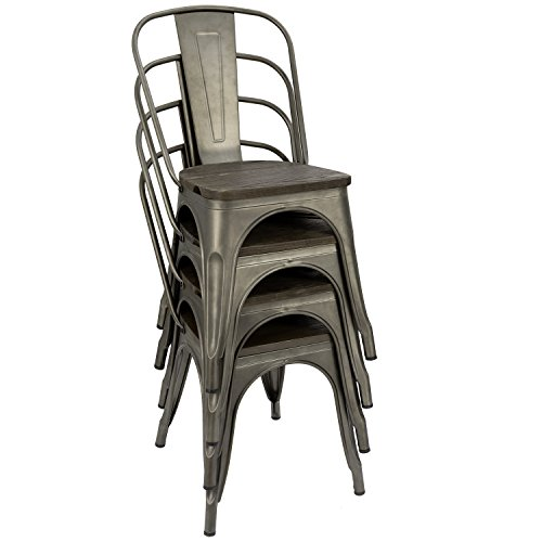 Furmax Metal Dining Chair with Wood Seat,Indoor-Outdoor Use Stackable Chic Dining Bistro Cafe Side Metal Chairs Set of 4 (Gun) by Furmax (Image #4)