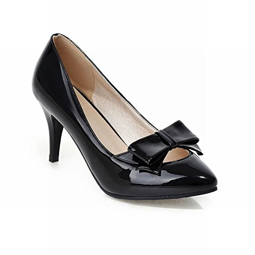 Carolbar Dames Bogen Puntschoen Mode Sexy Hoge Naaldhak Jurk Pumps Schoenen Zwart
