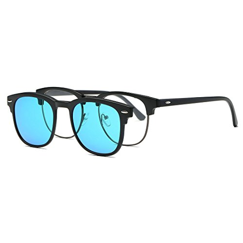 AEVOGUE Magnetic Clip-on Polarized Sunglasses Mens Plastic Titanium (TR90) Frame Unisex Prescription Glasses AE0510 (Black&Blue, - Magnetic Sunglasses