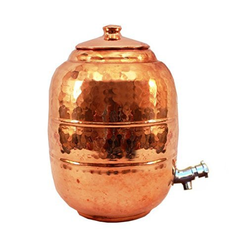 Rastogi Handicrafts Hammered Pure Copper 6.5 ltr. Water Pot Storage Tank - Tumble With Tap Kitchen Home Garden by Rastogi Handicrafts (Image #3)