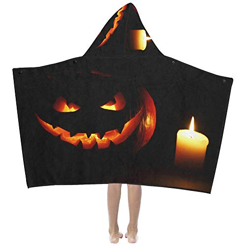 Halloween Carved Pumpkin Candle Soft Warm Cotton Blended Kids Dress Up Hooded Wearable Blanket Bath Towels Throw Wrap for Toddlers Child Girls Boys Size Home Travel Picnic Sleep Gifts Beach