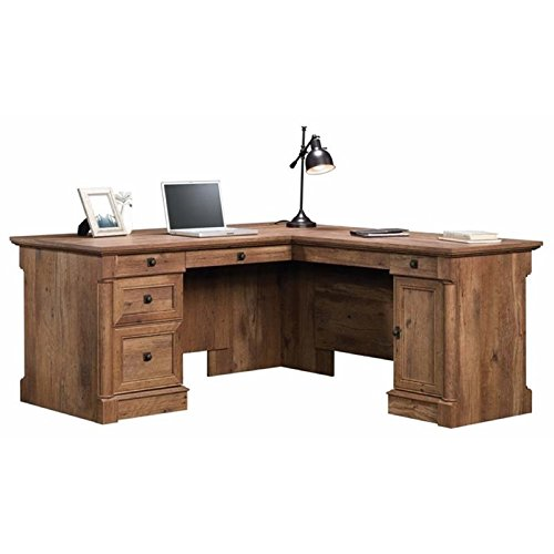 (Pemberly Row Home Office L Shaped Corner Desk with Computer Tower Storage and Letter/Legal File Drawer, Vintage Oak)