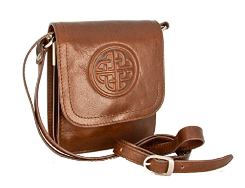 Shoulder Bag Ladies Leather Celtic Knot Brown Irish Made by Biddy Murphy