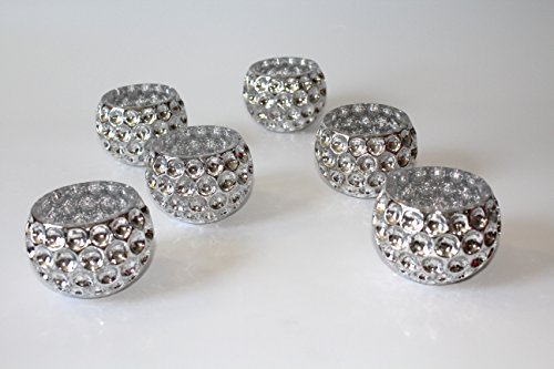 Crystal Candle Holder. set of 6 (bowl shape antique silver) Antique Crystal Bowls