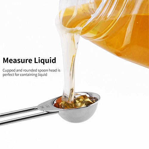 Measuring Spoon Measuring cups set, 304 Stainless Steel 8 pcs Measuring Spoon, Polished Mirror Spoon, Higher Quality Durable Stainless Steel with Engraving Dimensions for Kitchen Cooking Baking by ZJMZZM (Image #4)