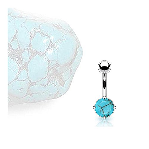 (West Coast Jewelry Surgical Steel Prong-Set Turquoise Semi Precious Stone Navel Belly Button Ring (Sold Ind.))
