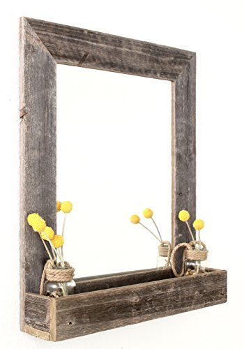 BarnwoodUSA Large Farmhouse-Style Mirror with Reclaimed Wood Shelf, Rustic Wall -