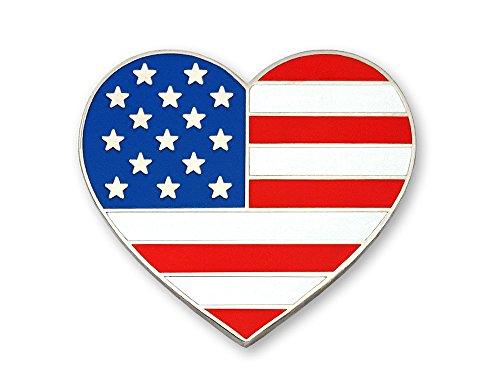 Pinsanity US Flag Heart Enamel Lapel Pin