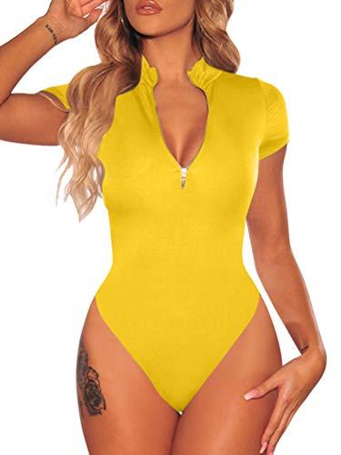 BEAGIMEG Women's Sexy Zipper Front Bodysuit Tops Short Sleeve Jumpsuit Leotard Yellow
