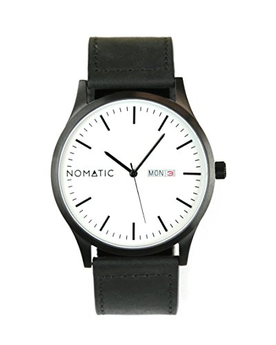 - The Nomatic Leather Band Water Resistant Watch - White and Black