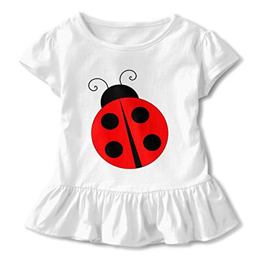 Lookjufjiii80 Toddler Girls' Ladybugs Short Sleeve Dress Ruffle T-Shirt Blouse Casual Clothes White -
