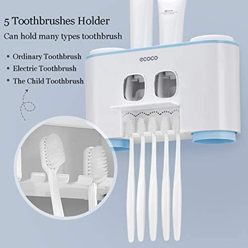 Blue FXY Automatic Toothpaste Dispenser and Toothbrush set,Toothpaste Squeezer with 5 Brushes and 4 Cups