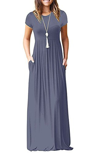 (Viishow Women's Short Sleeve Loose Plain Maxi Dresses Casual Long Dresses with Pockets (S, Purple Gray))