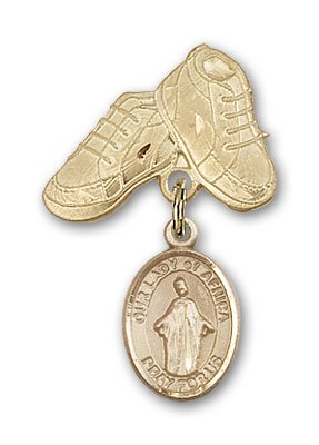 ReligiousObsession's 14K Gold Baby Badge with Our Lady of Africa Charm and Baby Boots Pin by Religious Obsession