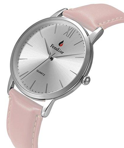 Fendior Waterproof Retro Women Girls Pink Leather Slim Silver Tone Analog Quartz Watches