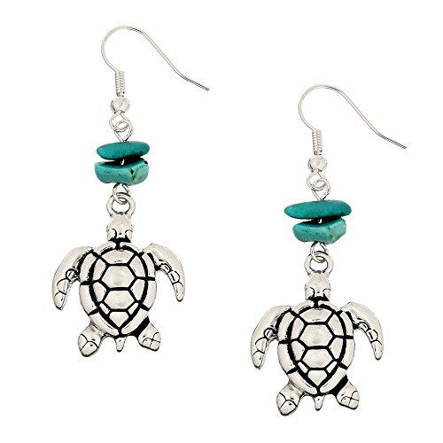 Liavy's Sea Turtle Fashionable Gemstone Earrings - Fish Hook - Turquoise ()