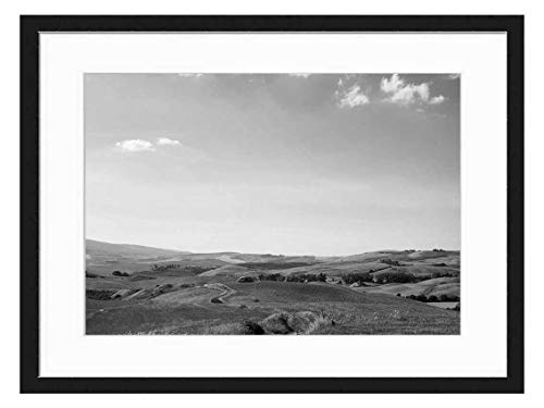 Amymami Art Print Wall Picture (Black White 20x14 inch) - Way Track Sand Road Nature Landscape Path (Best Way To Sell Farmland)