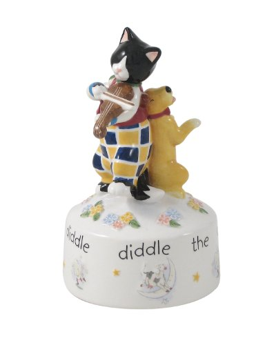 Belleek UNIV25041 Cat and the Fiddle Musical Box, 6.3-Inch, Multicolor