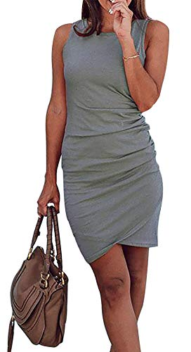 BTFBM Women's 2020 Casual Crew Neck Ruched Stretchy Bodycon T Shirt Short Mini Dress (106Grey, Medium)