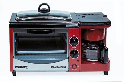 Courant CBH-4601R 3-in-1 Multifunction Breakfast Hub (4 Slice Toaster Oven, Large 10'' Diameter Griddle Pan, 5 Cup Coffee Maker), Red (Coffee Maker And Toaster Oven compare prices)