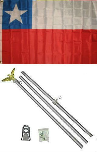 3x5 Chile Chilean flag with 6 ft Brushed Silver Aluminum Residential Commercial Advertising Flagpole Pole Kit Set (Eagle Top) ()