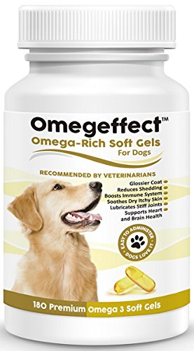 100% Pure Omega 3 Fish Oil Dogs 1000mg - Best Soft Gels Skin, Coat & Joints. Reduces Scratching & Shedding. Wild Caught Fish, Better Source DHA Than Alaskan Salmon. 180 Count