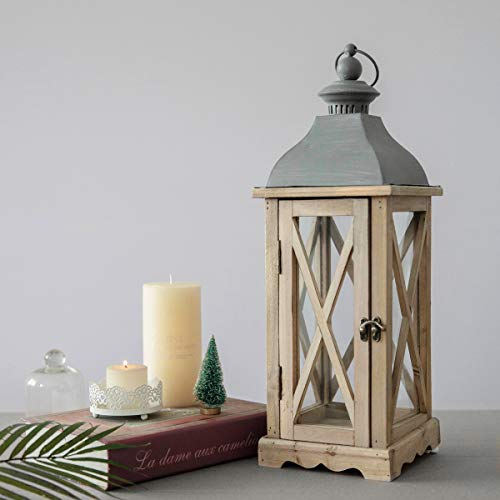 S.H. 6 x 6 x 20 Inches Wood Wooden Decorative Candle Lantern Vintage Rustic Large Hanging Candle Holder for Indoor Outdoor Use