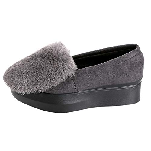 SHUSUEN Leopoard Print Women's Sherpa Foot Coverings Women Thick Heeled Waterproof Loafers Gray