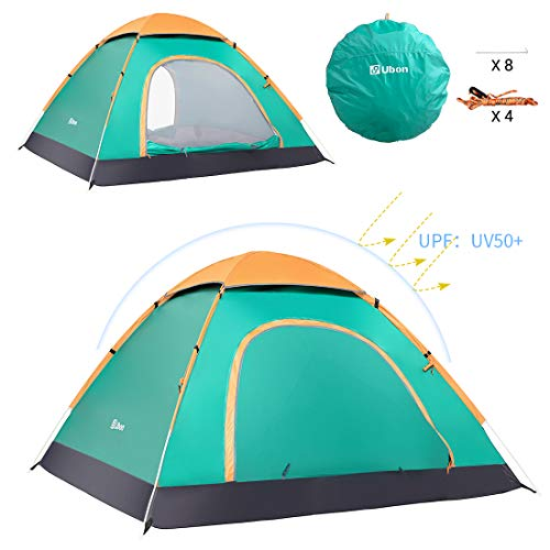 Ubon Pop up Tent, 2 Person Instant Tent Lightweight Automatic Portable Tent Backpacking Tent Waterproof Sun Shelter for Outdoor Indoor Family Camping Backpacking Picnic Beach,Grass Green