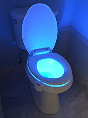 Automatic Motion Sensor Toilet Night Light by LIGHTBOWL, Modern Elegant Design With Relaxing 8-Color LED Light, For Gift, Party, Housewarming, Graduation, Wedding, Retirement, Potty Training