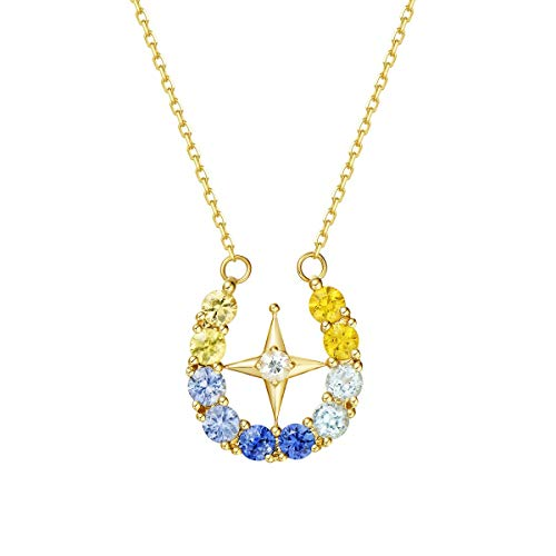 FANCIME 14k Solid Yellow Gold Star & Wish 1.27cttw Yellow Blue White Sapphire Pendant Necklace For Women Girls, 16