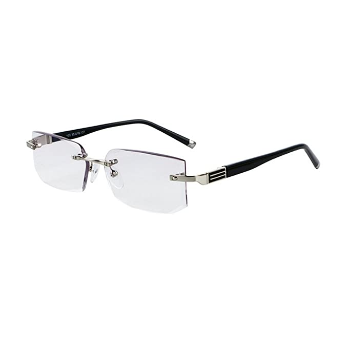 bba5437ffcd MINCL Rimless Lightweight Trimming Readers Ultra Comfort Quality Glasses  for Reading Men (black