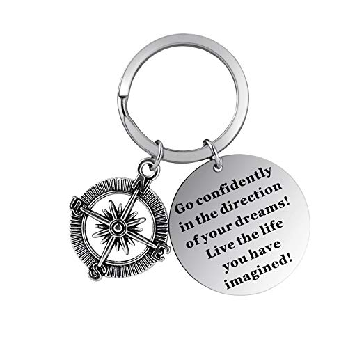 Axgo L-OTHER-002 Inspirational Pendant Keychain with Round Carved Compass, Graduation Key Chain Keyring Gifts, Go Confidently in The Direction of Your Dreams Live The Life You Have Imagined, Silver