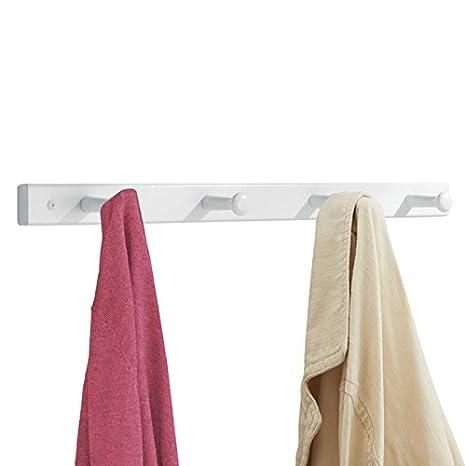 mDesign perchero pared con 4 ganchos - Perchero madera ideal para ropa y accesorios - Colgador ropa para sus chaquetas o bolsos en la entrada o en el ...