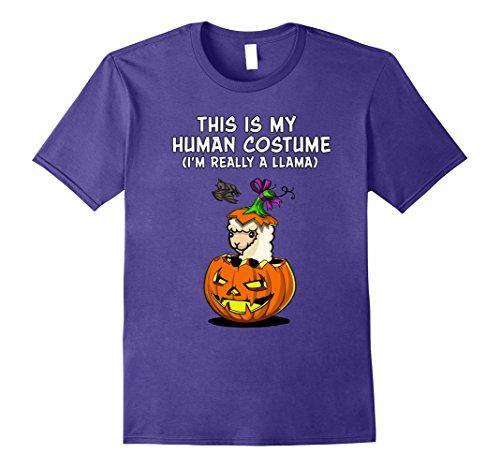Llama In Halloween Costume (Mens My Human Costume I'm A Llama Alpaca Halloween T-Shirt 2XL Purple)