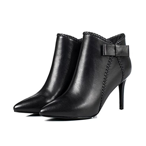Court Shoes XUERUI Ms High Heels Stilettos Wedding Graduation Jobs Bridal Shoes Waterproof Stable Cozy Fit 8cm Heel Black-1 cMoQQd