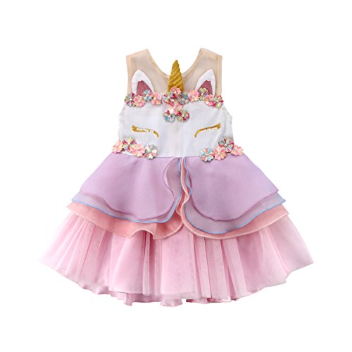 Baby Girls Sleeveless Unicorn Dress Flower Girl Dress Baby Kids Girl 3D Flower Lace Pageant Party Dress Summer Fashion Clothes (Pink, 140(5-6T)) from ITFABS