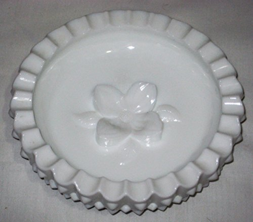 Vintage Fenton Milk Glass Hobnail Ashtray w/ Dogwood Flower, 6 1/2 Inch