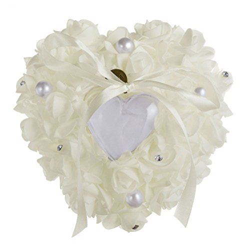 Amosfun Wedding Ring Pillow White Ring Pillow Lace Crystal Rose Wedding Heart Ring Box Ring Holder ()