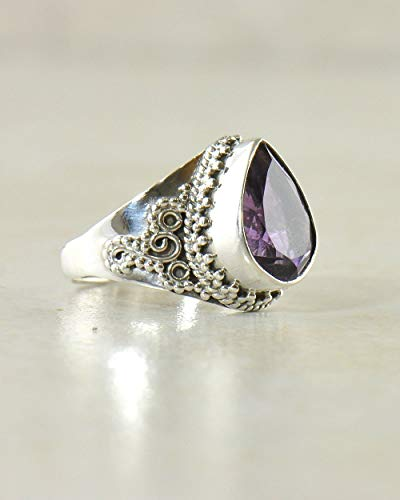 SIVALYA Designer Amethyst Gemstone Ring for women in 925 Sterling Silver - Size 8 - Exquisite hand-crafted design in Solid Silver - Great Gift for Her